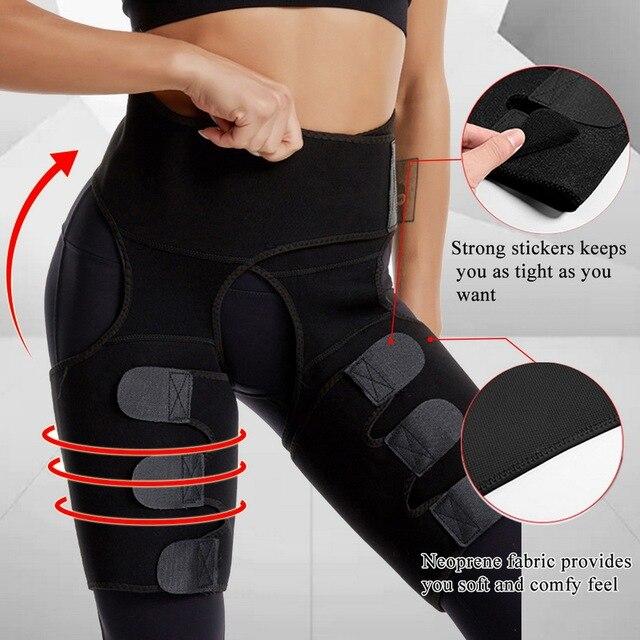 Women High Waist Thigh Trimmer Neoprene Sweat Shapewear Slimming Leg Body Shapers Adjustable Waist Trainer Slimming Belt Fitness 4