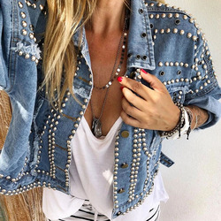 2019 Women Harajuku Denim Coat Heavy Hand Beaded Rivet Short Jeans Jackets Spring Autumn Lady Casual Loose Single Breasted Top