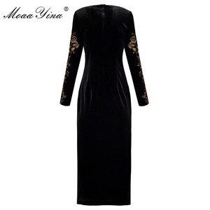 Image 2 - MoaaYina Fashion Autumn Women dress Long sleeve Luxurious Gold Line Embroidery Black Vintage Split Package buttocks Velvet Dress
