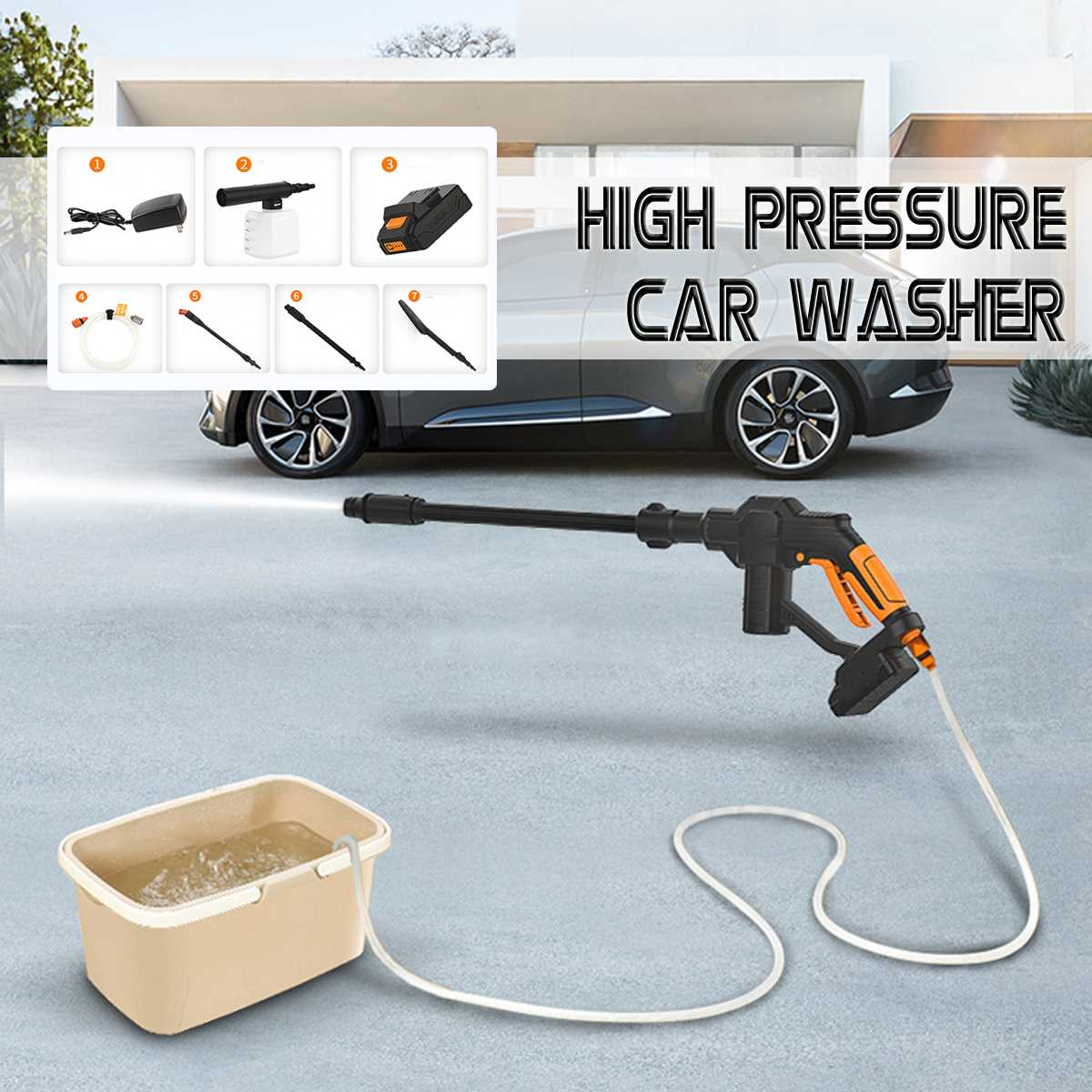 20V Car Wash Guns Wireless High Pressure Auto Spray Water Washer Rechargeable Car Washer Handheld Garden Electric Cleaning Tool