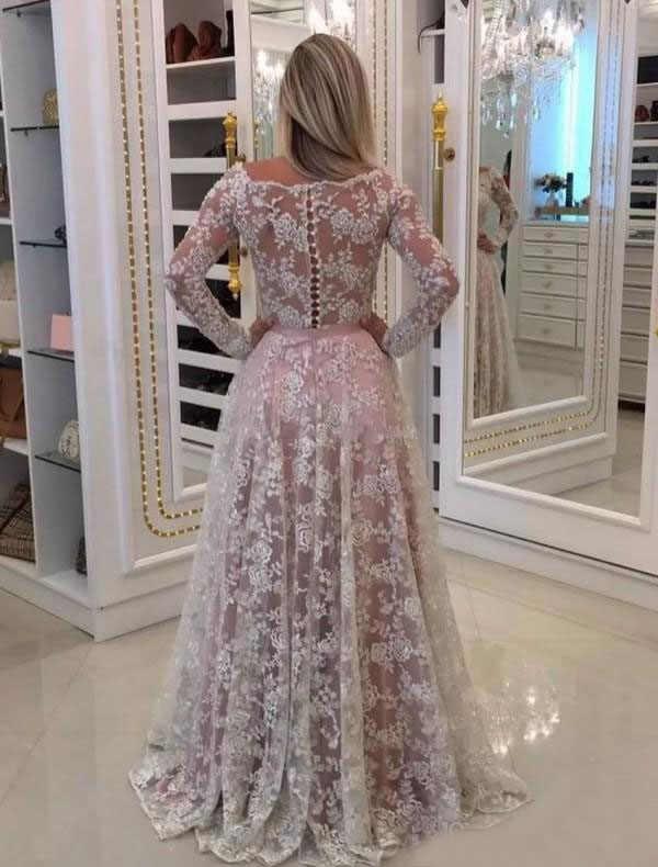 Xcos Elegant Long Sleeve Wedding Gown Off Shoulder Pink Lining