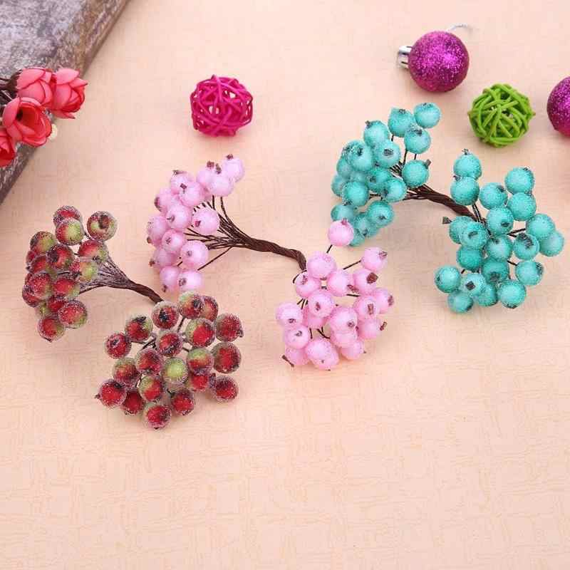 Mini Fake flower Fruit Small Berries Artificial Flower cherry Stamen Wedding Home Christmas Decorative with 40 Heads Stamen
