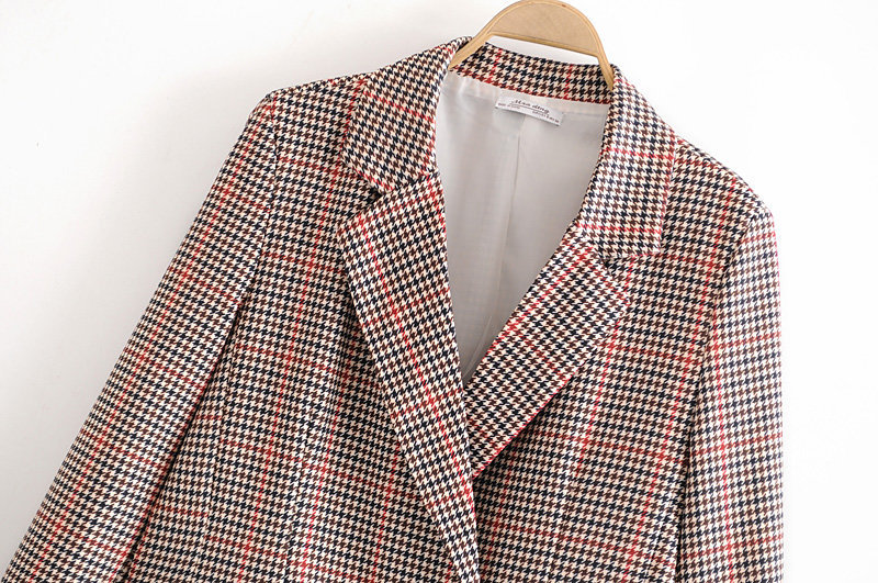 Fashion women's blazer 2020 casual check long sleeve ladies jacket small suit feminine Spring and summer elegant coat
