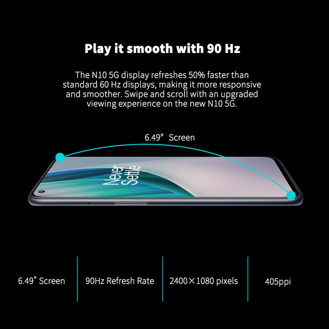 Versão global oneplus nord n10 5g telefone móvel 6.49 polegada 90hz exibição suave 6gb 128gb snapdragon 690 64mp quad camera nfc 3