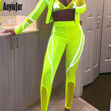 Auyiufar Skinny Neon Pants for Women Leggings Patchwork Solid Reflective Striped Womens Pencil High Waist Sporty Trousers