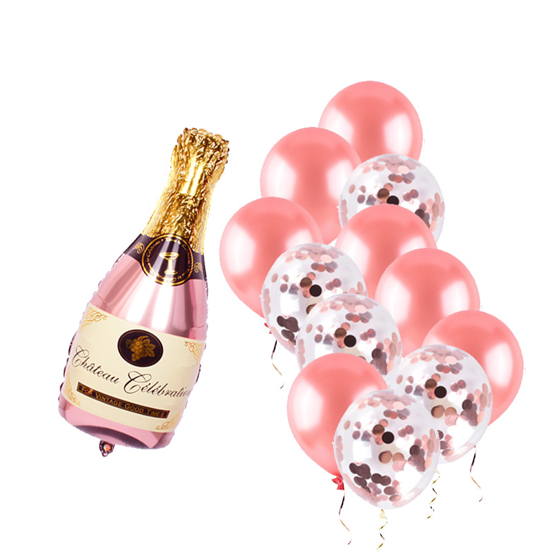 40inch Rose Gold Wine Bottle Foil Balloons Wedding Decorations Valentine's Day Baby Shower Birthday Celebration Party Supplies