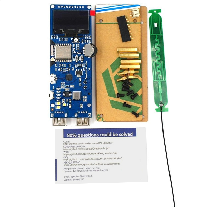 Wifi Deauther Monster V4 Esp8266 18650 Development Board Reverse Protection Antenna Case Power Bank 5V 2A