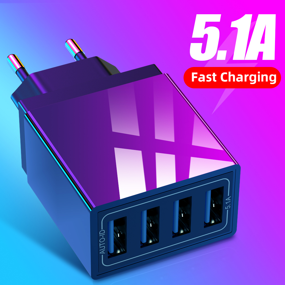 Universal 4 USB Travel Mobile Phone Charger Adapter for iPhone Samsung 5V 5.1A Smart  SmartPhone USB Fast chargers Charging Head 1