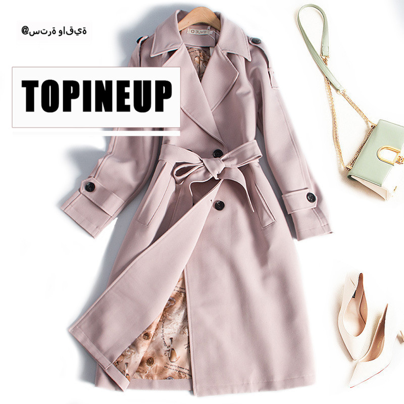 2019 Warm Fashion Solid Color Long Slim Women Casual   Trench   Coat Waist Belt Turn-Down Collar Long Sleeve Elegant Coats