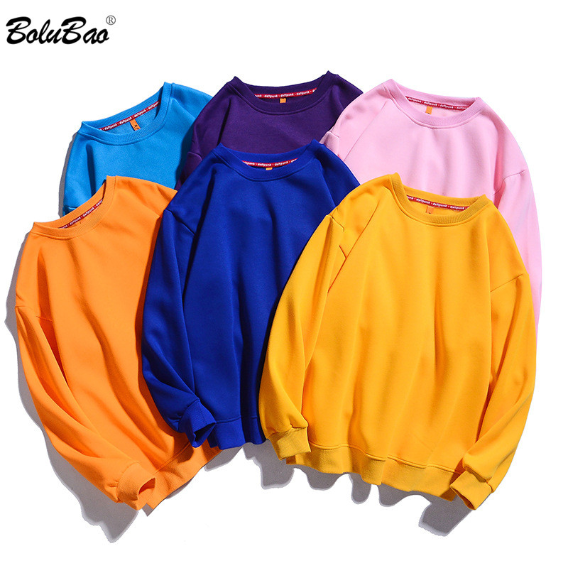 BOLUBAO Brand Men Solid Color Hoodies Sweatshirts Winter New Men's Round Neck Sweatshirt Plus Velvet Warm Sweatshirt Male