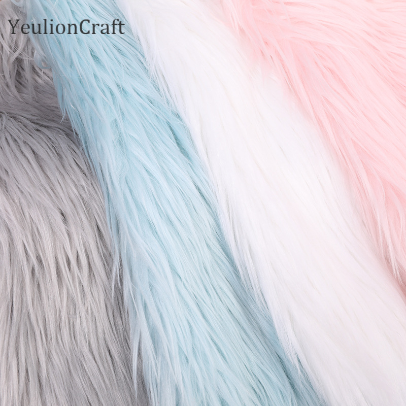 YeulionCraft Long Rabbit Faux Fur Fabric 20x30/40x60cm For Patchwork Sewing Material Garment Diy Home Decoration