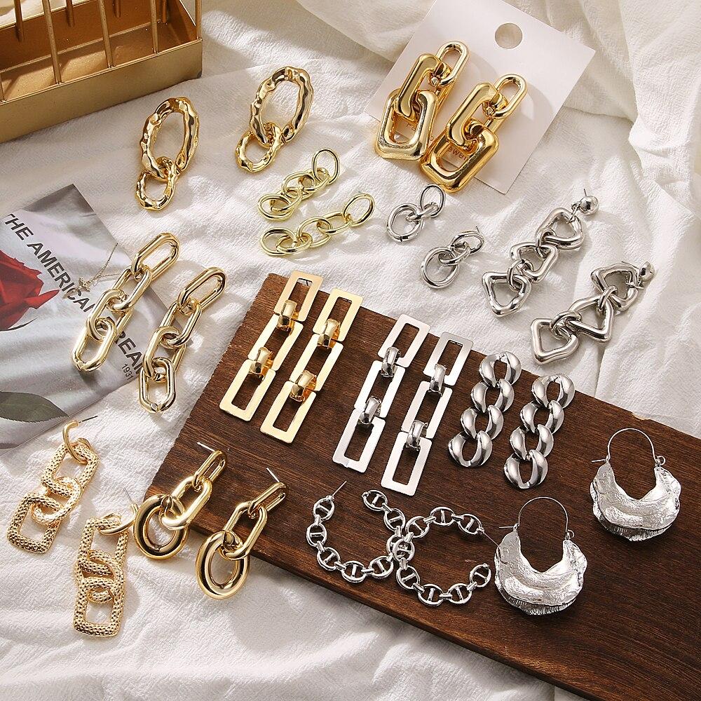 Vintage Metal Chain Drop Earrings Statement Women's Gold Alloy Metal Punk Earrings Fashion Irregular Earrings Jewelry Wholesale