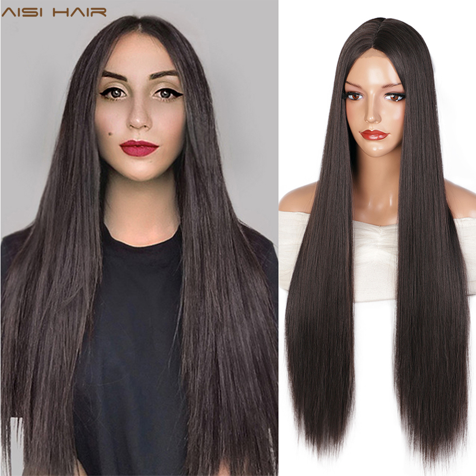 AISI HAIR Long Straight Wigs Brown Synthetic Wigs For Women Natural Handline Middle Part Heat Resistant Fiber Daily Wig