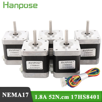 цена на Nema17 Stepper Motor For 3D printer 4-lead  48mm /78Oz-in 1.8a Nema 17 motor 42BYGH 1.7A (17HS8401)  motor  Free Shiping 5pcs