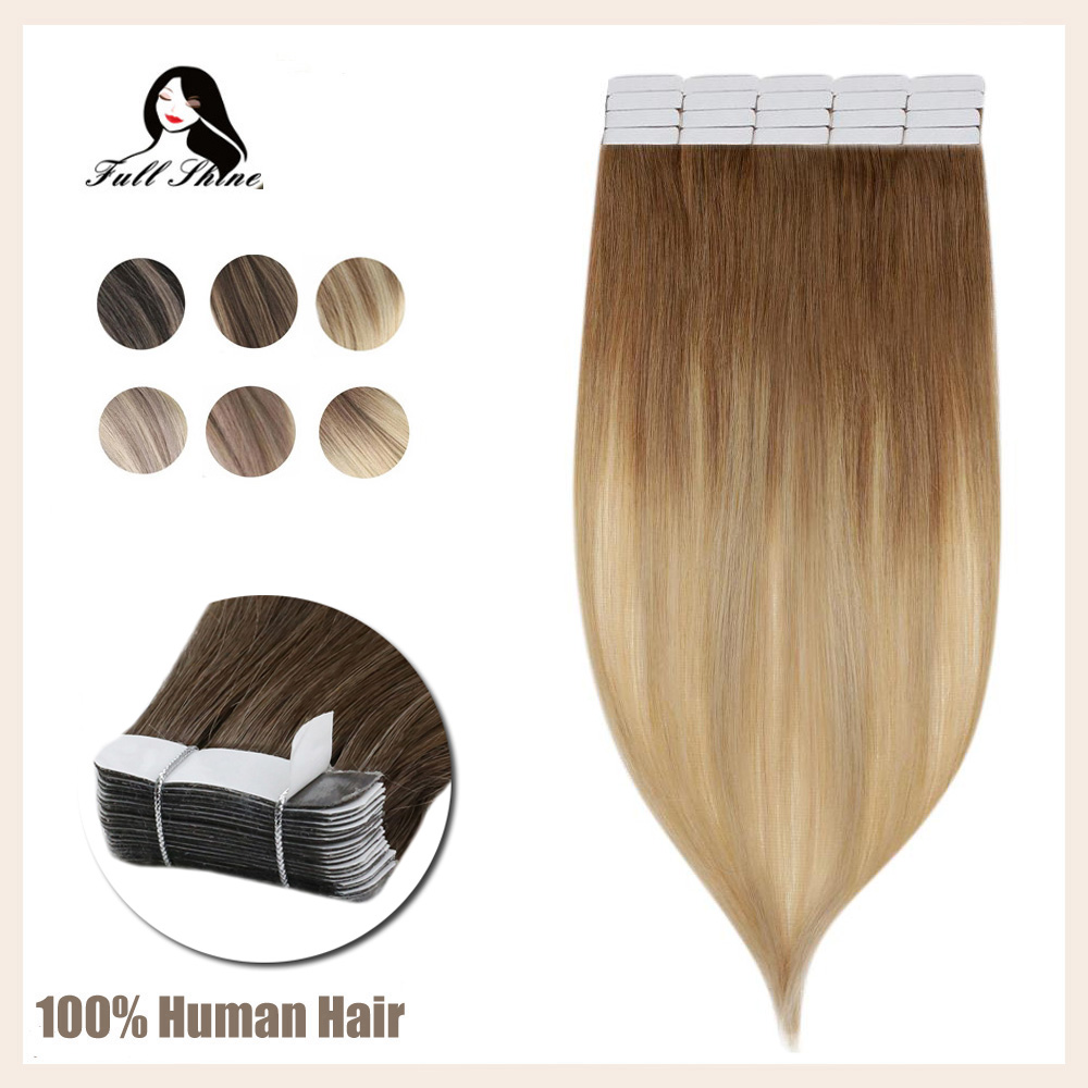 Pleine brillance Ombre couleur ruban dans la Machine à cheveux Remy Extensions de cheveux humains 20 pièces 50 grammes par paquet colle sur lextension de cheveux
