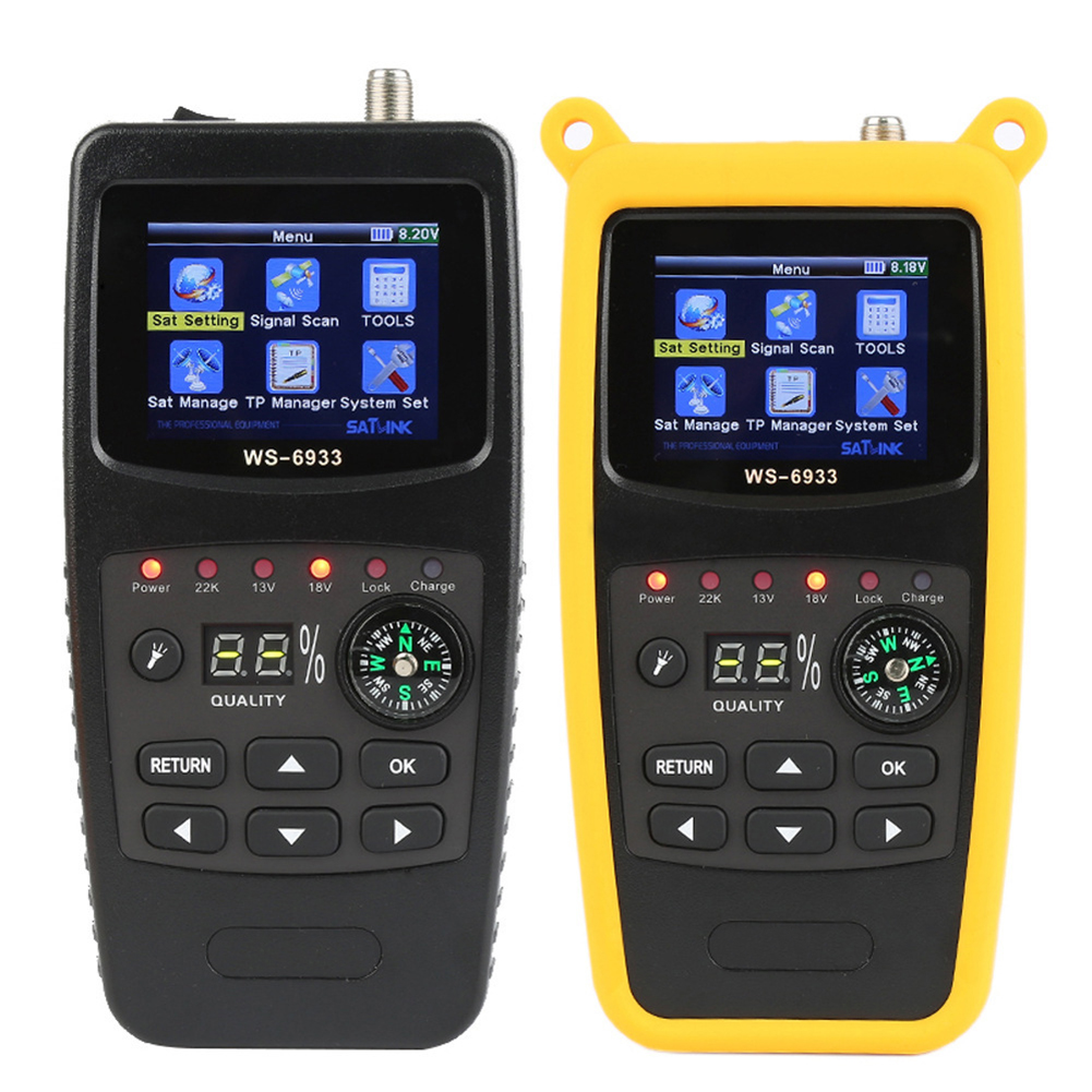 WS-6933 Digital Satellite Finder 2.1 Inch LCD Display DVB-S2 FTA C&KU WS 6933 WS6933 DVB S2 Sat Meter Satfinder US/EU/UK/AU