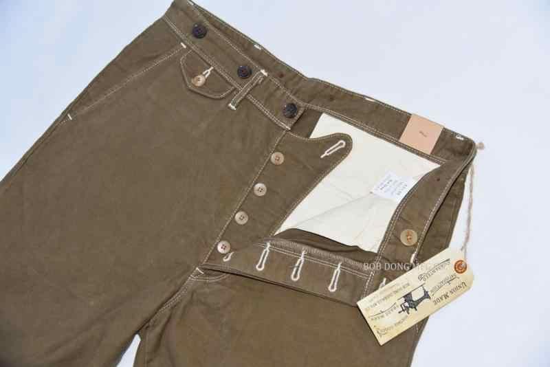 BOB DONG Casual Twill Chino Vintage Stil männer Hosen Mit Strumpf Tasten