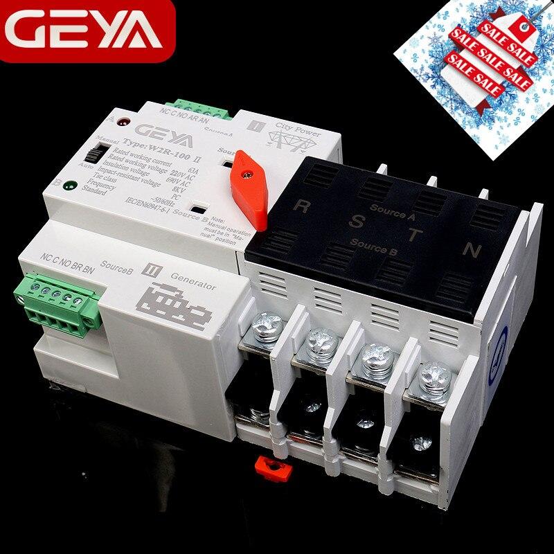 Бесплатная доставка GEYA W2R мини ATS 4P автоматический переключатель контроллер электрического типа ATS Max 100A 4 полюса