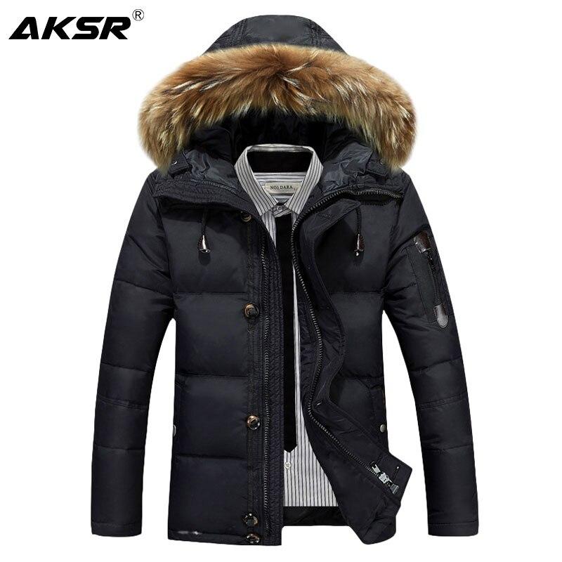 AKSR Men's Winter Long Jacket   Coat   Large Size Thick Warm Duck   Down   Jacket Fur Hooded Outwear Winter   Down   Jacket Male Doudoune