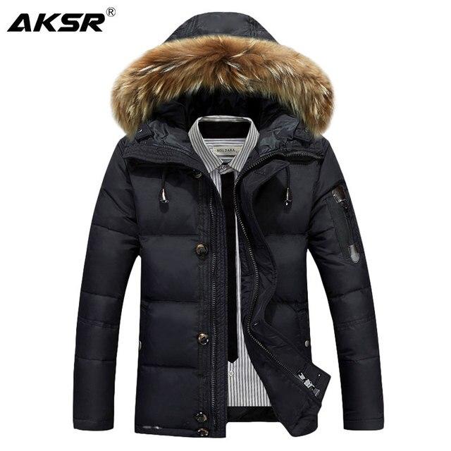 Chaqueta de plumón de invierno para hombre, chaqueta de pluma de pato de invierno con capucha de piel gruesa y cálida para hombre, ropa de marca Doudoune