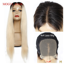 Wig Human-Hair Closure-Wig Blonde Lace 12-30inch Straight Brazilian 150%Density 4x4 1b-613