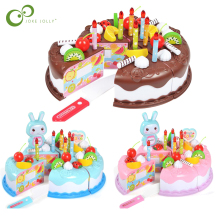 37pcs Kitchen Toys Cake Food DIY Pretend Play Fruit Cutting Birthday Toys for Children Plastic Educational Baby kids Gift GYH