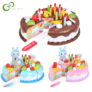 37pcs Kitchen Toys Cake Food DIY Pretend Play Fruit Cutting Birthday Toys for Children Plastic Educational Baby kids Gift GYH(China)