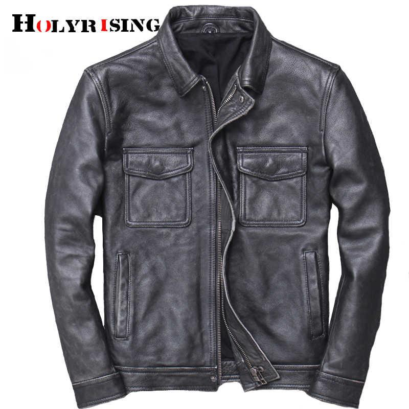Männer Rindsleder leder veste cuir homme 2019 herren 100% echtem leder jacken biker vintage qualität mantel blouson cuir homme 19023