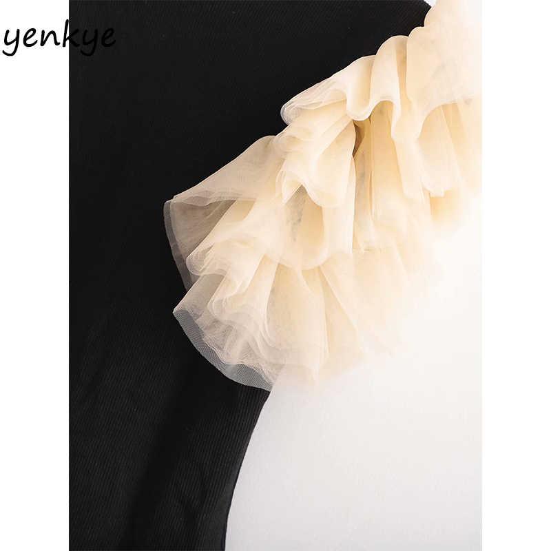 Prążkowana dzianina Sexy Body kobiety tiul rękaw wokół szyi Vintage czarne bluzki Body mujer XDWM2795