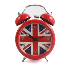 Reloj despertador Vintage con bandera británica de Londres reloj despertador de mesa sin tic-tac reloj para niños, Color Rojo