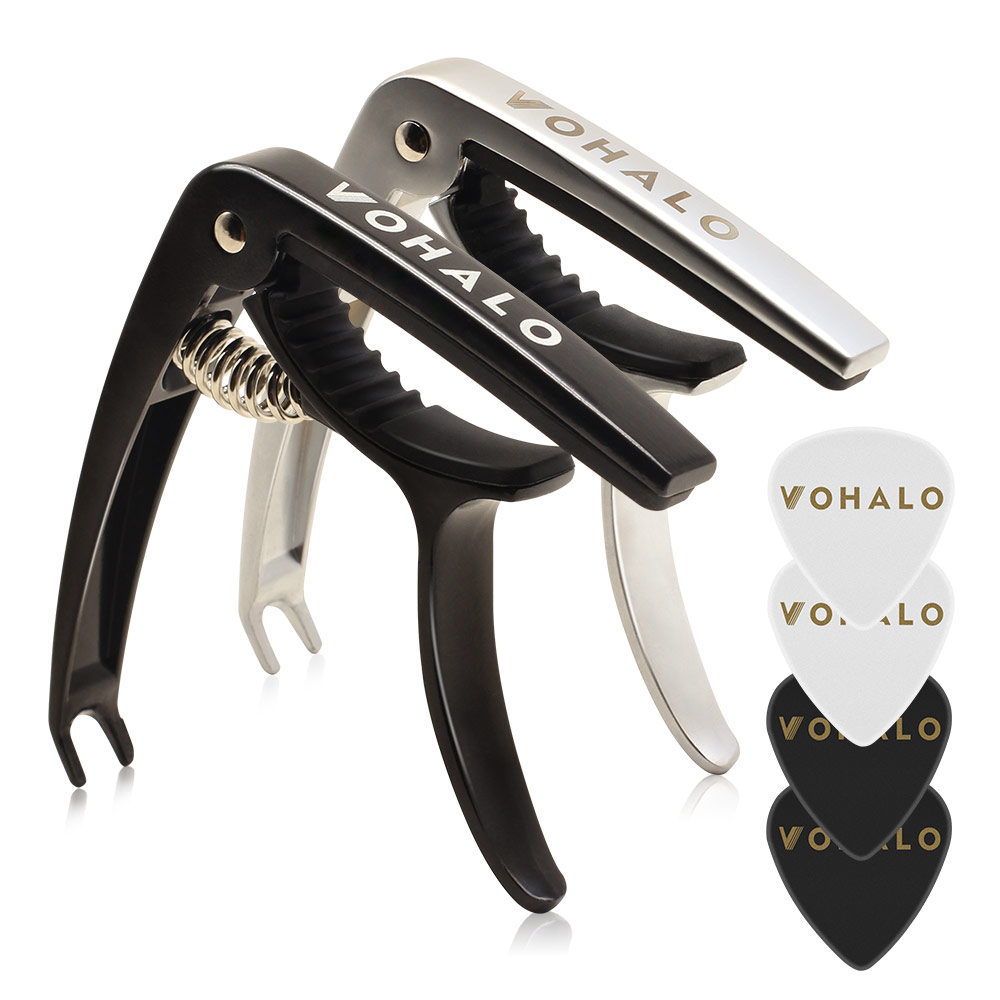 VOHALO Guitar Capo For Acoustic Electric Guitars Ukulele Mandolin Banjo Zinc Alloy 2 in Pack Black & Silver with 4 Picks