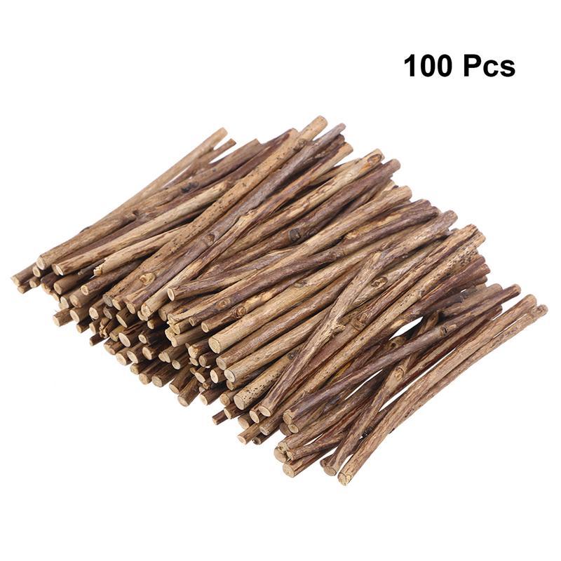 100 pçs vara de madeira natural 10cm de comprimento varas de madeira para diy artesanato ramo árvore casca log discos vara diy artesanato festa decoração
