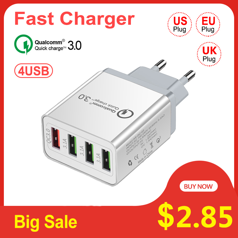 Vitog Usb-Charger Tablet Us-Eu-Uk-Plug 4-Port Samsung Fast iPhone 7 8-X-Huawei Qc-3.0