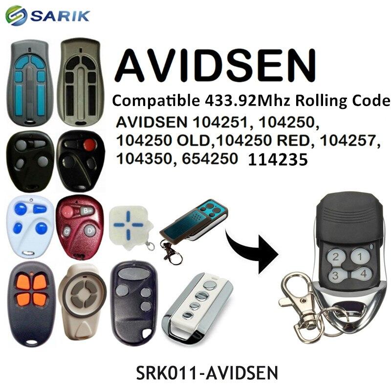 AVIDSEN 104250 Garage Door Remote Control Rolling Code AVIDSEN 100400 Garage Door Opener Fixed Code 433.92mhz Garage Command