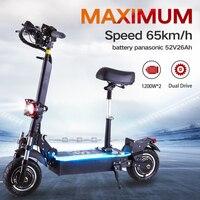 Patinete eléctrico para adultos, patinetes electricos potentes bicicleta de doble conducción, 2400W, velocidad máxima de 65 km/h, con asiento, neumático de 10 pulgadas, batería panasonic