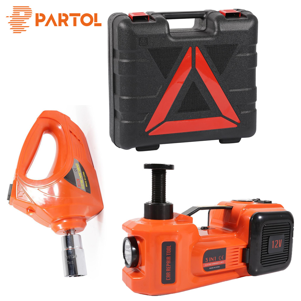 Partol 3 Functions Car Lifting Inflatable Electric Hydraulic Jack Impact Wrench 3.5 Ton 12V Auto Multi-function Maintenance Tool