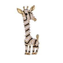 YADA fashion pearl Giraffe Pins&Brooches for Lapel Pin Garment Scarf jewelry Rhinestone Crystal Animal Brooches BH200014