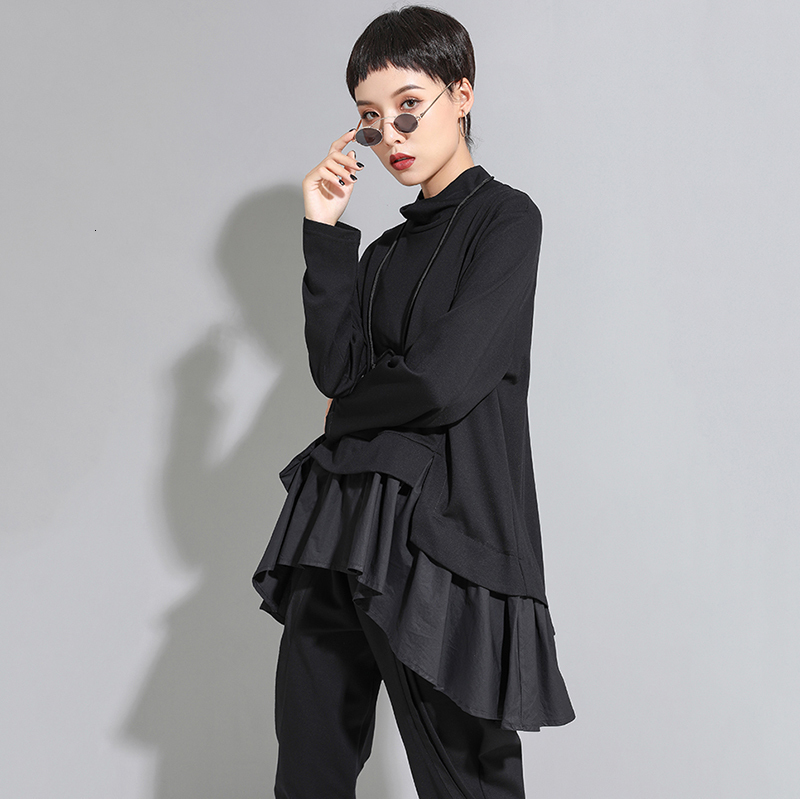 New Fashion Style Asymmetrical Ruffles Sweat Shirt Fashion Nova Clothing