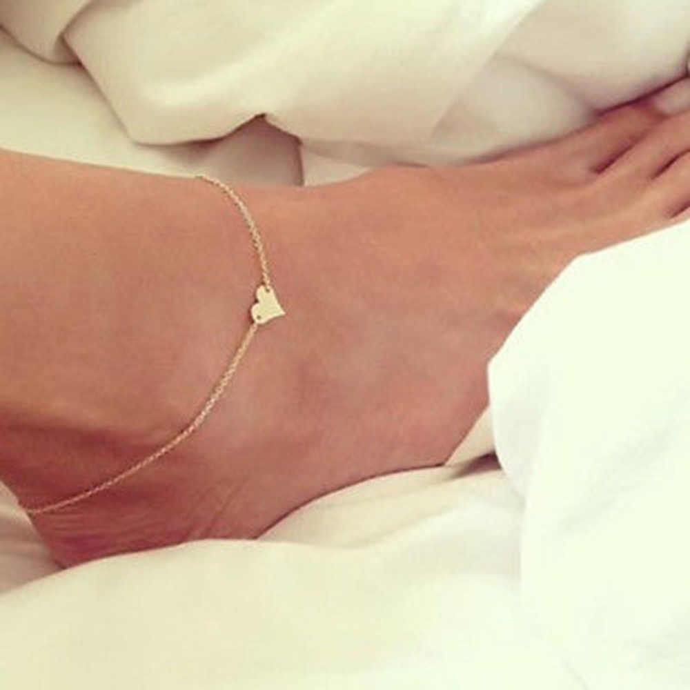 Dziewczyna moda serce kobiece obrączki boso szydełkowe sandały biżuteria na stopy nogi nowe obrączki na stopy bransoletki na kostki dla kobiet nogi