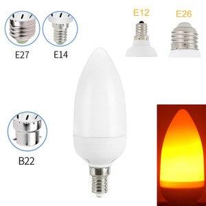 Image 2 - الإبداعية 3 طرق الجاذبية الاستشعار لهب أضواء E27 E26 E14 LED لهب تأثير مصباح حريق لمبة 7 واط 9 واط الخفقان محاكاة مصباح ديكور