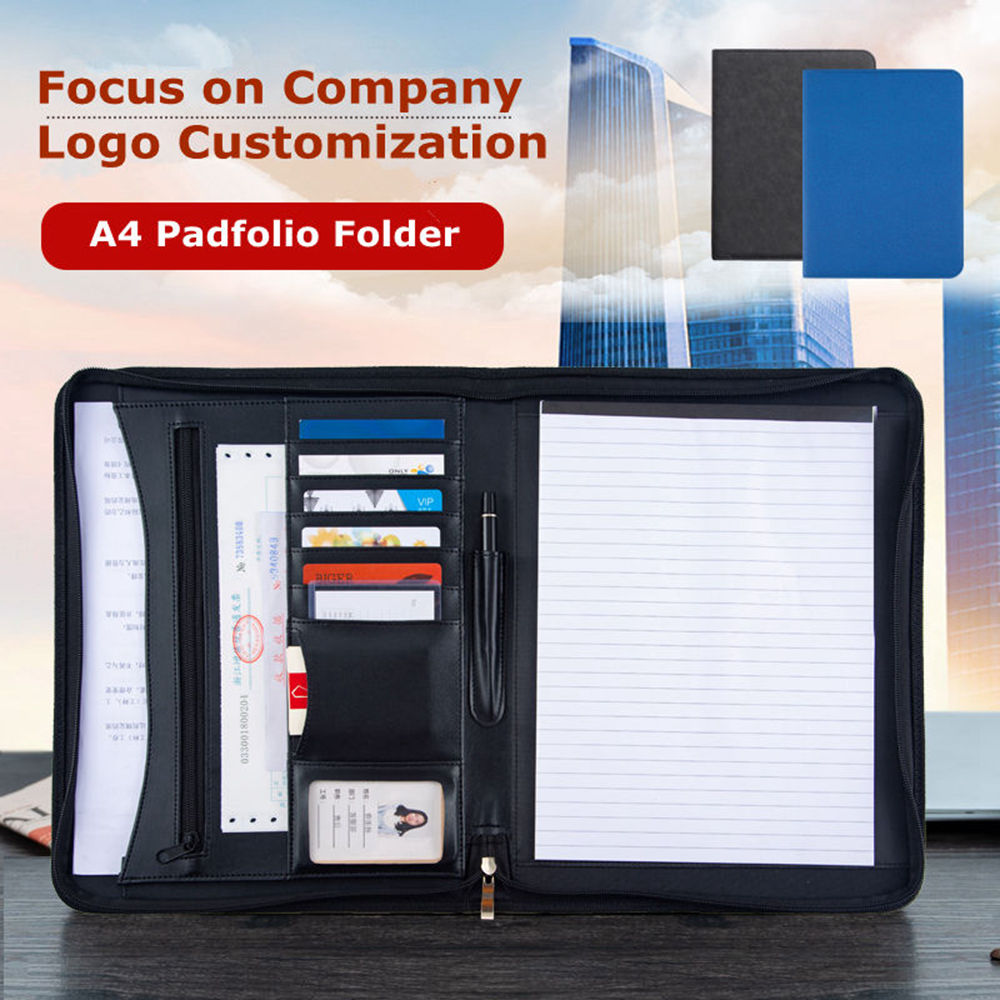 Cheap Leather File Folder Organizer A4 Conference Portfolio Bags Zipper Document Folder Case