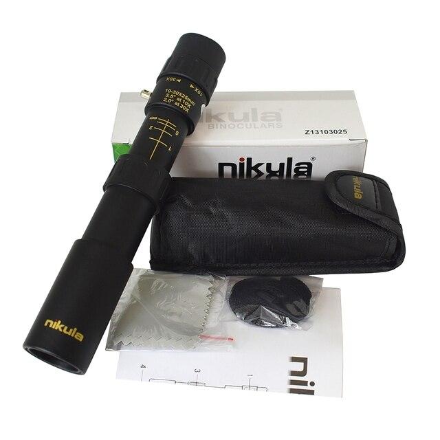 オリジナル双眼鏡nikula 10 30x25ズーム単眼スコープ高品質望遠鏡ポケットbinoculo狩猟光学プリズムなし三脚