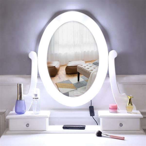 Dressing Table With Light Single Mirror Dressing Table with 5 Drawer For Makeup 2