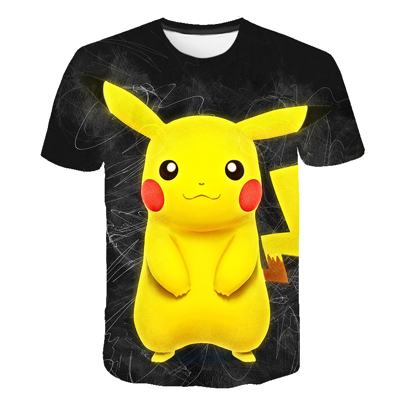 2021 New Pikachu Printed T Shirt Pokemon Children's Animation Harajuku Fashion Short-Sleeved Casual Tshirt, Kid's Tops Tees