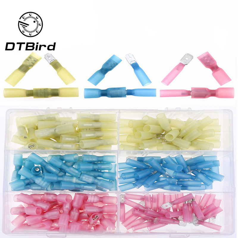 160PC Heat Shrink Connection Terminal Suit For RSMDD RSFDFD Insert Spring Plug-in Insulated Electrical Wire Cable Connectors