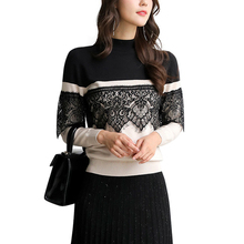 JYSWM Sweater For Women Loose Autumn Winter New Black White Contrast Lace Floral Stitching O-neck Long Sleeve Pullover Women
