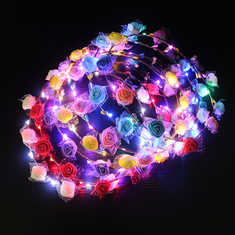 Colorful Party Glowing Wreath Crown Flower Headband Women Girls LED Light Up Hair Wreath Hairband Garlands