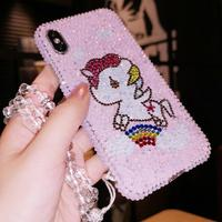 For iphone XS Max bling glitter Unicorn cover For iPhone 8plus XR X 8 6 6S 6Splus 7 7plus Rhinestone Diamond Gift case +strap