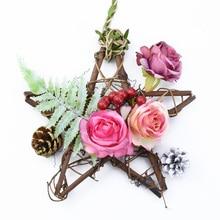 Недорогая Свадебная Декоративная гирлянда с цветами для рукоделия, Рождественское украшение со звездами, ротанговая гирлянда, дверные Под...