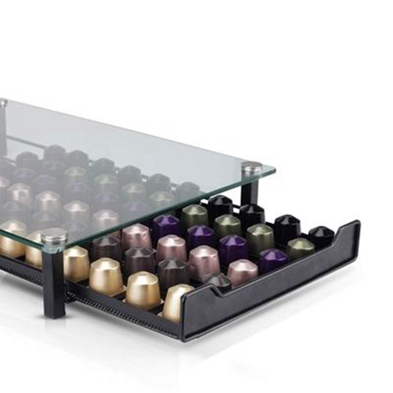 2020 Glass Nespresso Coffee Pods Holder Rack Coffee Capsule Stand Brand Capsules Storage Shelve Organization Coffe Holder Drawer